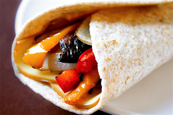 Roasted veggie wrap